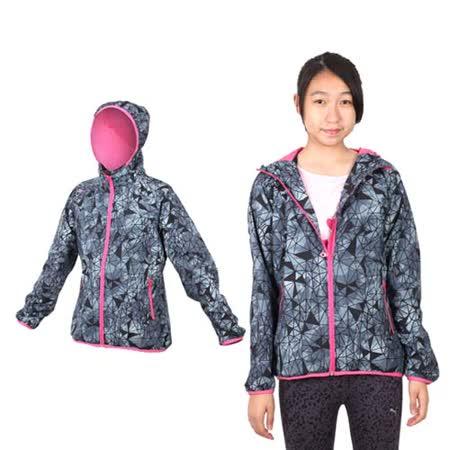 (女) MIZUNO 平織外套 - 路跑 慢跑 運動 連帽 立領 美津濃 格紋黑