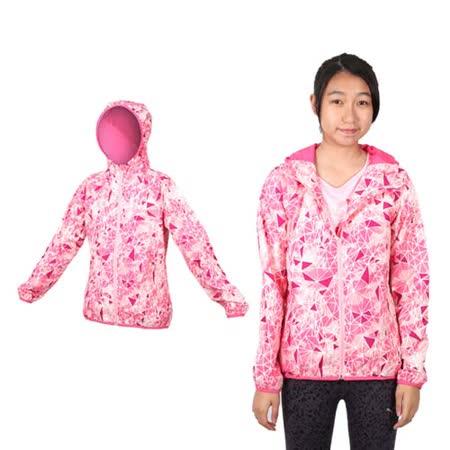 (女) MIZUNO 平織外套 - 路跑 慢跑 運動 連帽 立領 美津濃 格紋紫粉紅