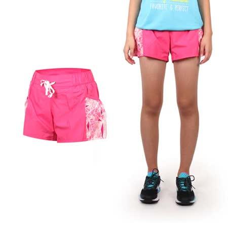 (女) MIZUNO 平織短褲 - 路跑 慢跑 運動 健身 戶外 休閒 格紋紫粉紅