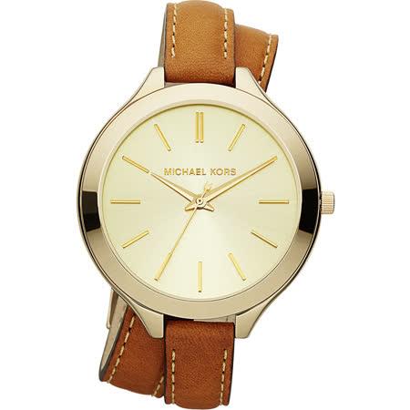 Michael Kors 時尚伸展台都會環繞式腕錶-金/42mm MK2256