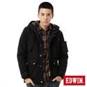 EDWIN 雙層連帽舖棉外套-男-黑色