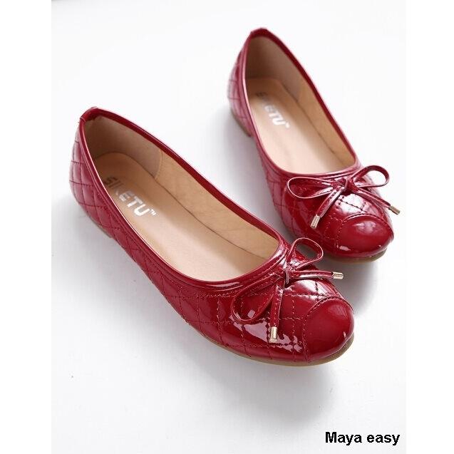 ~Maya easy~優雅蝴蝶結亮澤格紋平底包鞋 平底鞋 ^(紅色^)