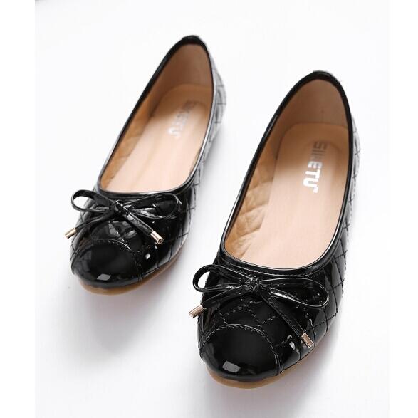 ~Maya easy~優雅蝴蝶結亮澤格紋平底包鞋 平底鞋 ^(黑色^)