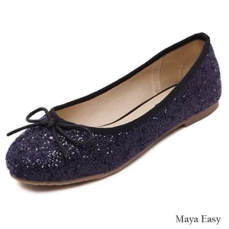 【Maya easy】璀璨光澤迷人蝴蝶結平底包鞋 / 平底鞋 (紫色)