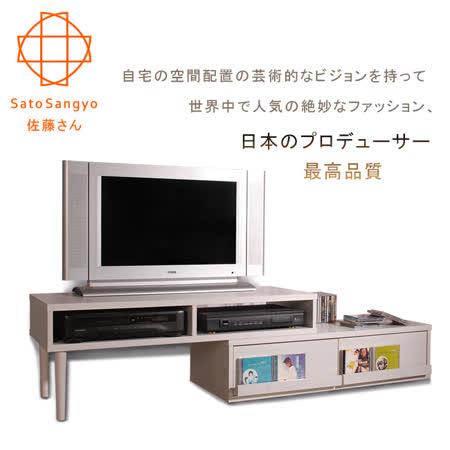 【Sato】FREX懷舊協奏曲伸縮視聽收納櫃 (橡木白)