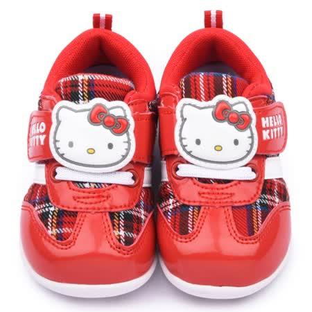 童鞋城堡-Hello kitty 中小童 經典格紋機能運動鞋715131-紅