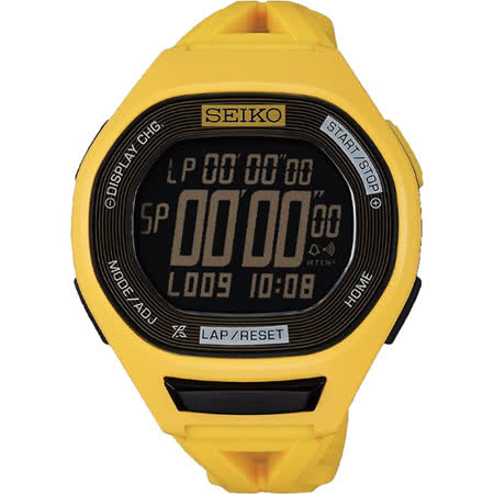 SEIKO Super Runners 20周年專業路跑紀念錶-黃 S611-00A0Y(SBEG015J)