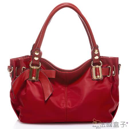 【法國盒子】典雅美型蝴蝶結氣質二用包(紅色)L-3089