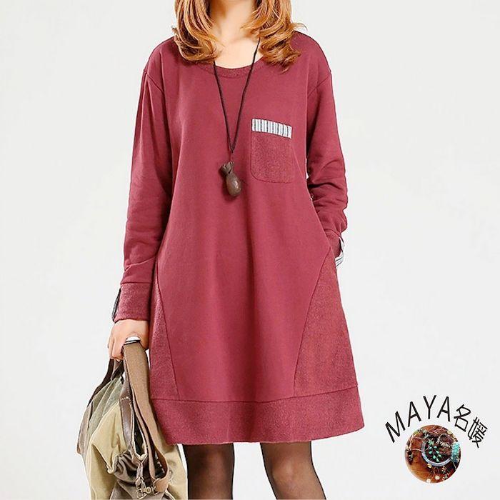 ~Maya 名媛~^(M^~2XL^) 毛圈綿質料 圓領簡約清新感 反布毛圈料大口袋 純色