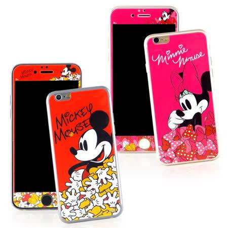 【Disney 】iPhone 6 plus 強化玻璃彩繪保護貼-米奇米妮