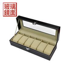 【手工名錶收藏盒】【玻璃鏡面】皮革材質 手工精品 6只裝錶盒