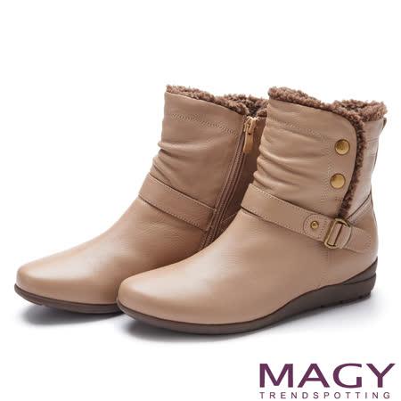 MAGY 街頭率性風 柔軟毛邊四合釦羊皮短靴-可可