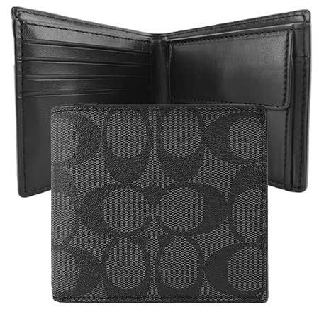 COACH LOGO PVC雙折短夾(附零錢袋)((黑灰)