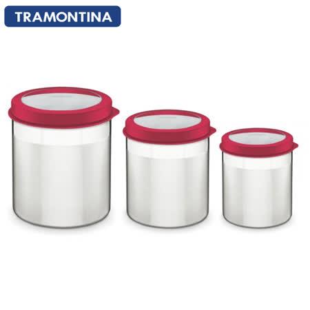 TRAMONTINA 不鏽鋼儲物密封罐3件組(紅色)