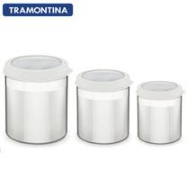 TRAMONTINA 不鏽鋼儲物密封罐3件組(白色)