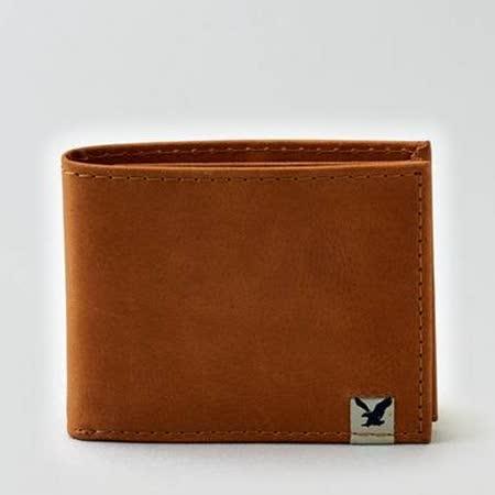 【American Eagle 】2015男時尚前角標誌黃褐色信用卡雙折皮夾【預購】