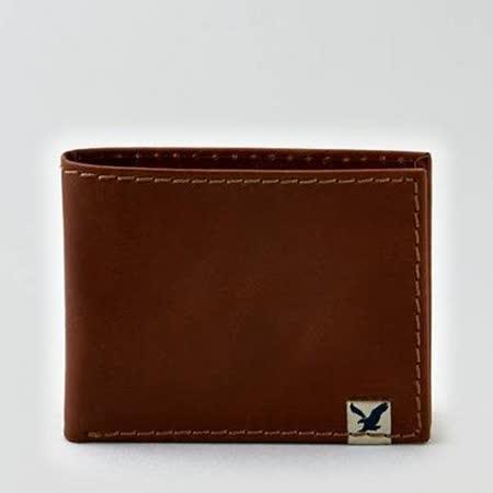 【American Eagle 】2015男時尚前角標誌褐色信用卡雙折皮夾【預購】