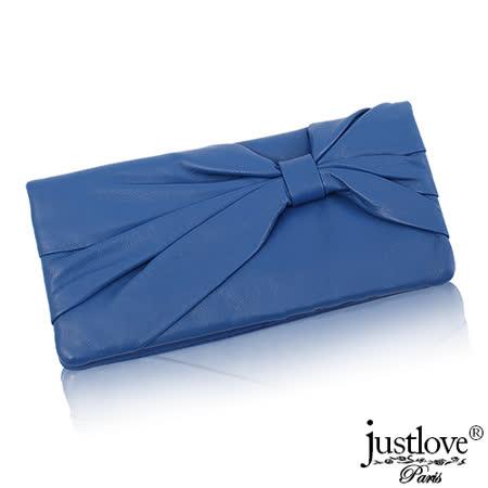 【justloveParis】法國名品真皮皮夾柔軟手感蝴蝶結抓皺壓扣真皮長夾(藍) BW-0112-1