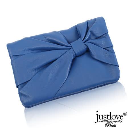 【justloveParis】法國名品真皮皮夾柔軟手感蝴蝶結抓皺壓扣真皮短夾(共4色)BW-0112-3