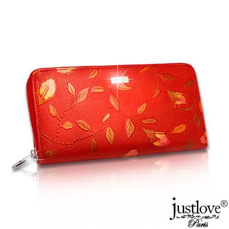 【justloveParis】法國名品真皮皮夾花草彩繪手機包真皮拉鍊長夾(共2色) BW-0119-0