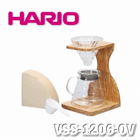 【HARIO】V60玻璃濾杯木架咖啡壺組-VSS-1206-OV