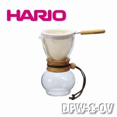 【HARIO】濾不橄欖木手沖咖啡壺組-1-2杯/DPW-1-OV