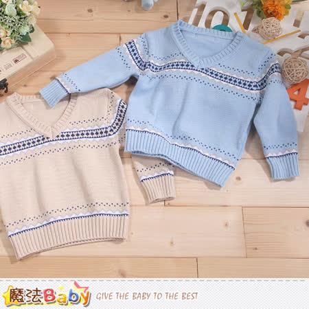 魔法Baby  專櫃款幼兒V領長袖毛線衣 k43365