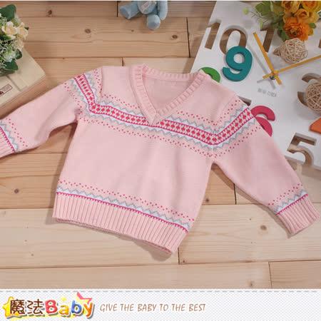 魔法Baby  專櫃款幼兒V領長袖毛線衣 k43372