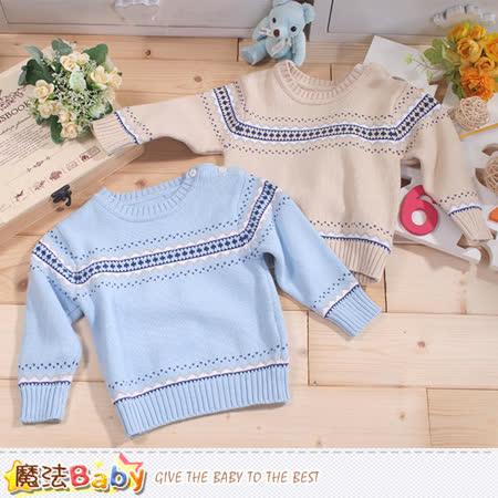 魔法Baby  專櫃款幼兒圓領肩開釦長袖毛線衣 k43389