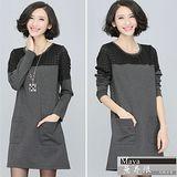 【Maya 名媛】(l~4xl)半透視肩格紋拼接雪紡長袖連衣裙-灰色