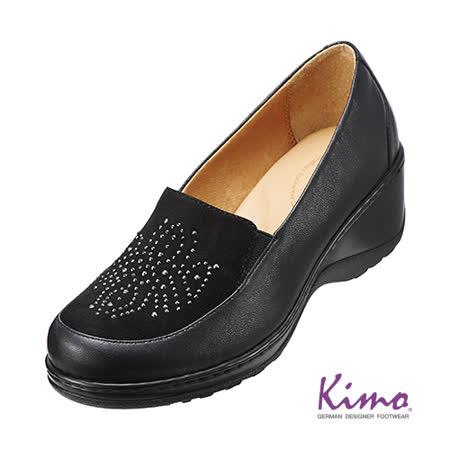 【Kimo德國品牌手工氣墊鞋】晶鑽反毛皮雙皮料厚底鞋_個性黑(K15WF014083)
