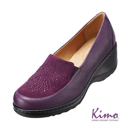 【Kimo德國品牌手工氣墊鞋】晶鑽反毛皮雙皮料厚底鞋_迷情紫(K15WF014089)