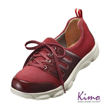 【Kimo德國品牌手工氣墊鞋】雙皮料彈力綁帶輕量鞋_熱情紅(K15WF054257)