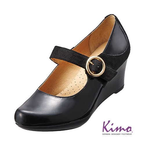 【Kimo德國品牌手工氣墊鞋】漆皮時尚楔型鞋_個性黑(K15WF072063)