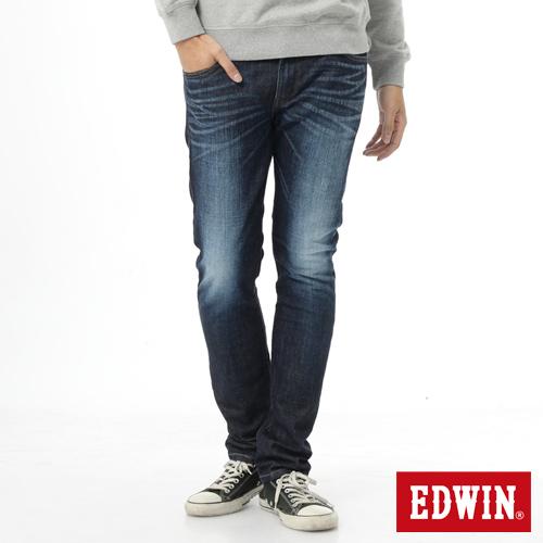EDWIN EDGE雙層斜袋窄直筒牛仔褲-男-原藍磨