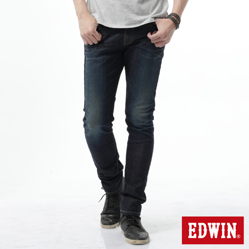 EDWIN EDGE雙層斜袋窄直筒牛仔褲~男~中古藍