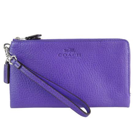 COACH 馬車印紋荔枝皮雙拉鍊手掛式長夾(紫)