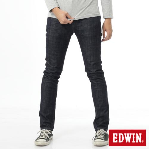 EDWIN 加大碼 EDGE雙層斜袋窄直筒牛仔褲-男-原藍色