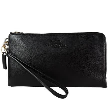 COACH 馬車印紋荔枝皮雙拉鍊手掛式長夾(黑)