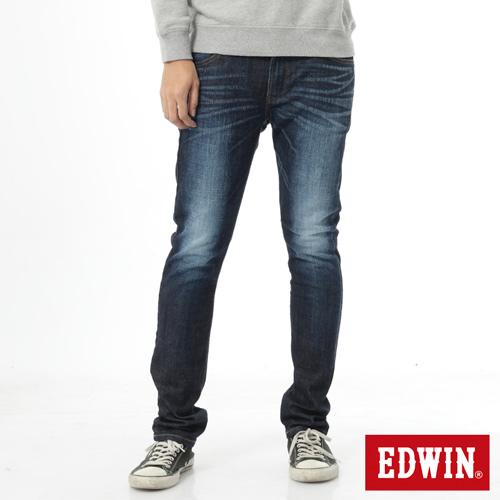 EDWIN 加大碼 EDGE雙層斜袋窄直筒牛仔褲-男-原藍磨