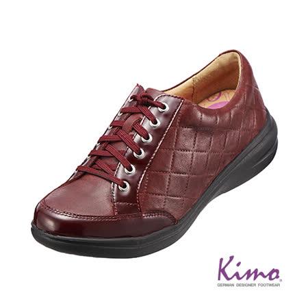 【Kimo德國品牌手工氣墊鞋】格紋真皮綁帶休閒鞋_深邃紅(K15WF071167)