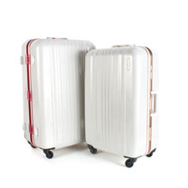 MOM JAPAN 日本品牌 25吋 亮彩系列 鋁框鏡面海關鎖旅行箱 玫瑰紅 MF6008-25-rd