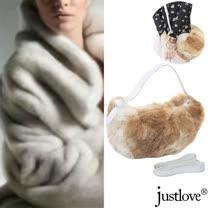 【justlove】真皮草兔毛晶鑽開運斜背側背肩背半月包(駝黃 BG-0108)