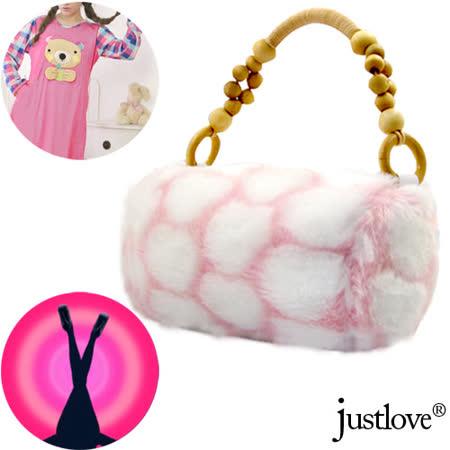 【justlove】獨家仿兔毛絨毛休閒跑趴派對晚宴手提小包(粉紅)PG-0272