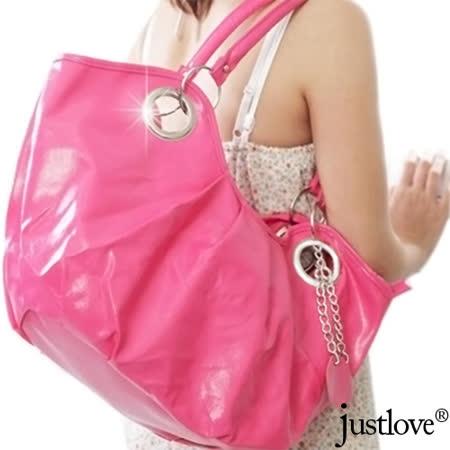 【justlove】抓皺時尚吊飾休閒肩背手提大包元寶半月包(共2色 BG-0295)