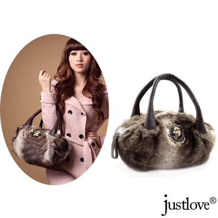 【justlove】名牌風仿兔毛柔軟奢華經典晚宴跑趴肩背手提貝殼包(灰)PG-0306