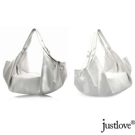 【justlove】L名牌風船型漆皮亮面古銅金屬時尚約會肩背手提半月包(白)PG-0314
