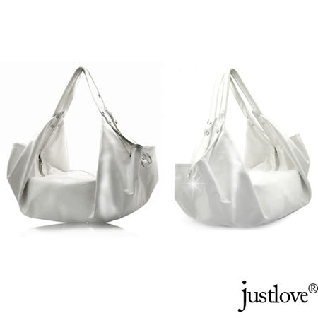 【justlove】L名牌風格亮面光滑質軟船型時尚約會肩背手提帆船半月大包(白 BG-0314)
