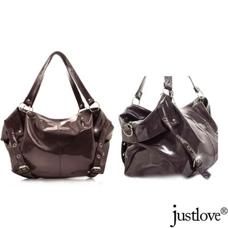 【justlove】加大包漆皮亮面柔軟休閒購物肩背手提馬鞍包(啡)PG-0315