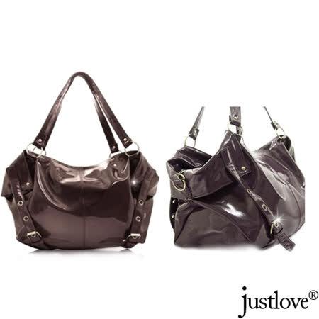 【justlove】L名牌風格亮面光滑質軟船型時尚約會肩背手提馬鞍大包(啡 BG-0315)